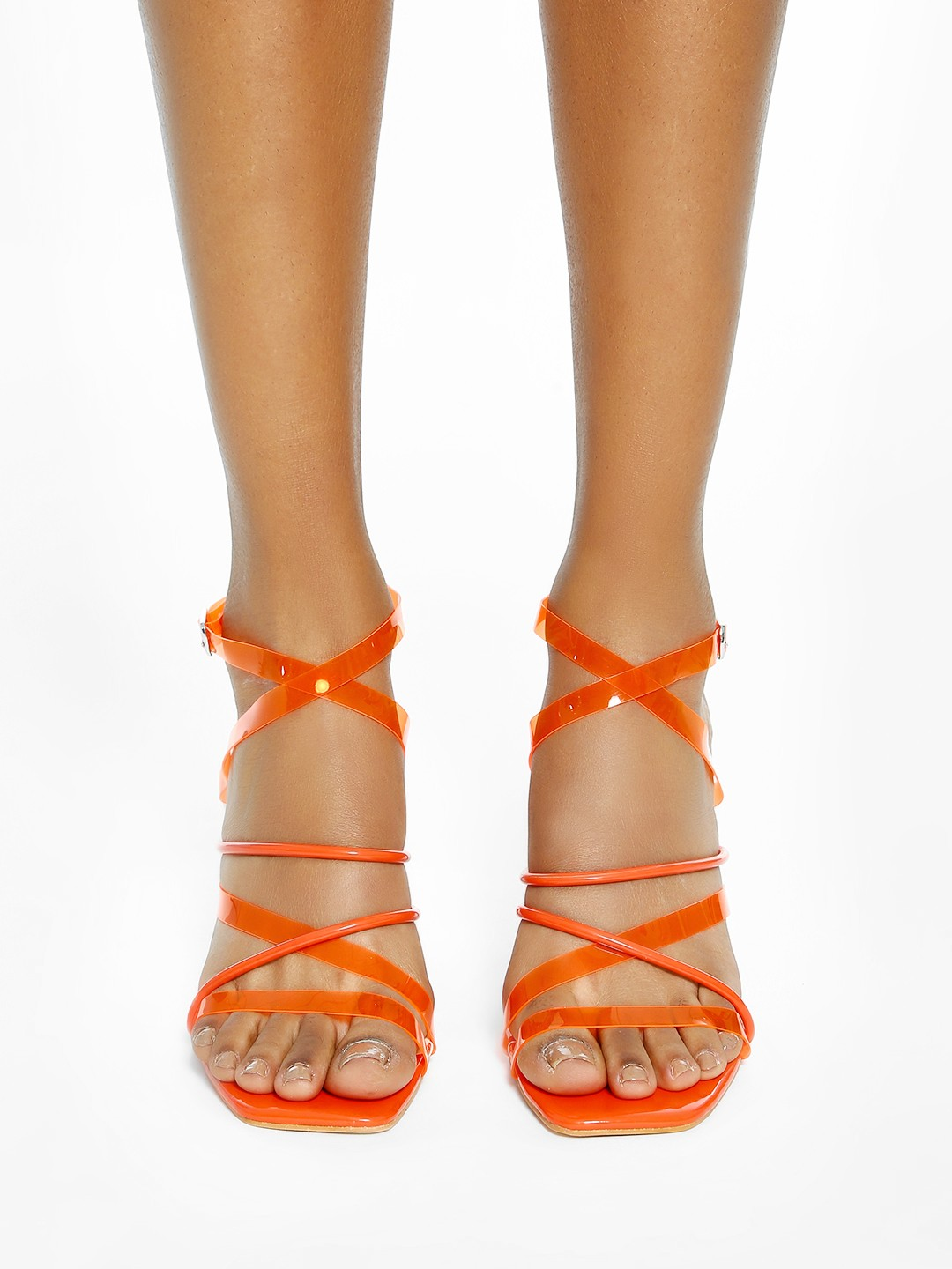 Intoto Orange Clear Strap Heeled Sandals 1