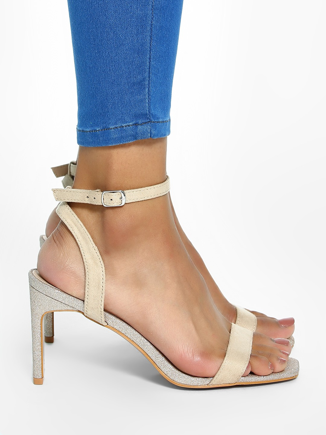 Intoto Nude Glitter Sole Suede Heeled Sandals 1