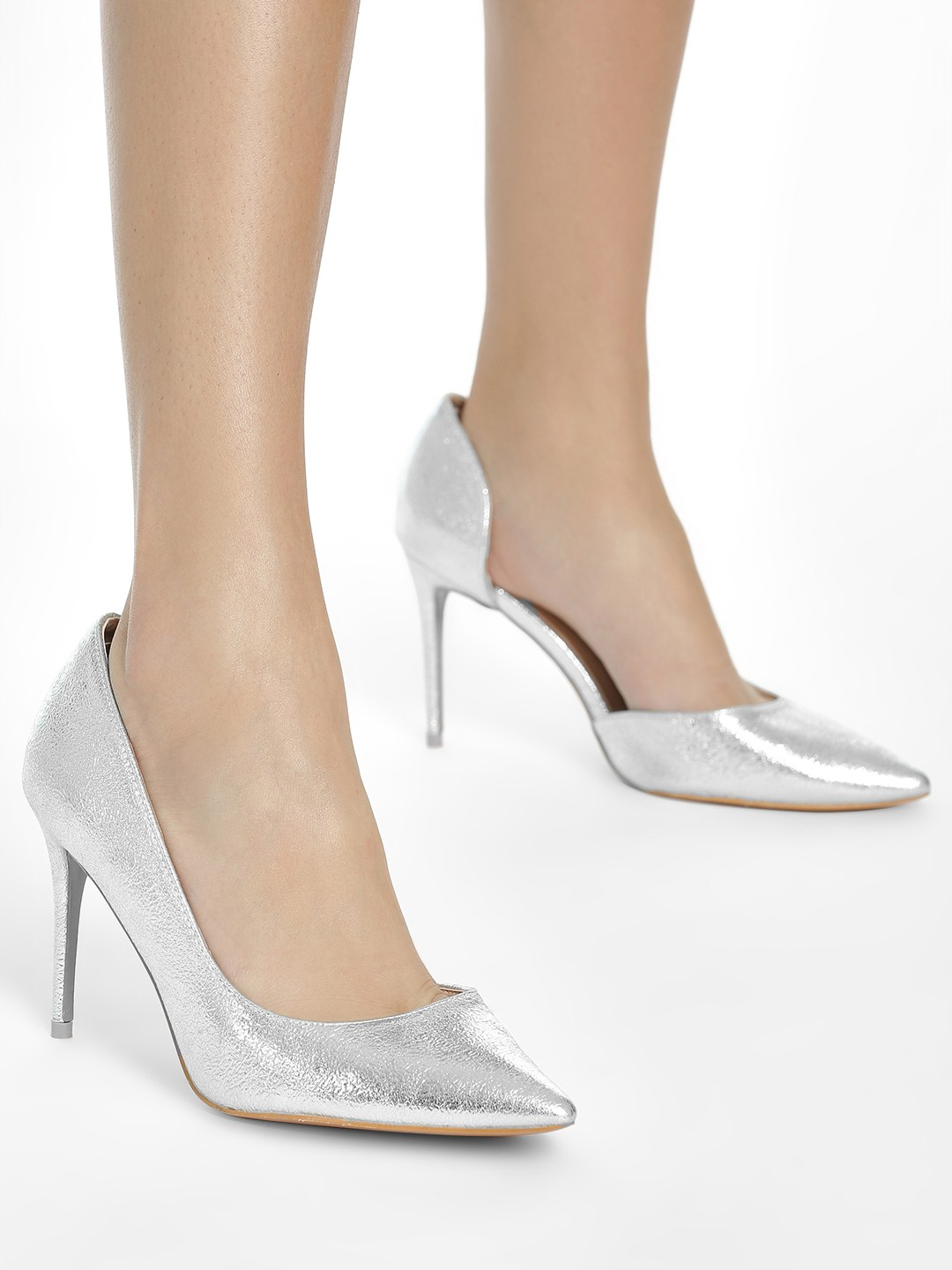 Intoto Silver Metallic Foil Cut-Out Pumps 1