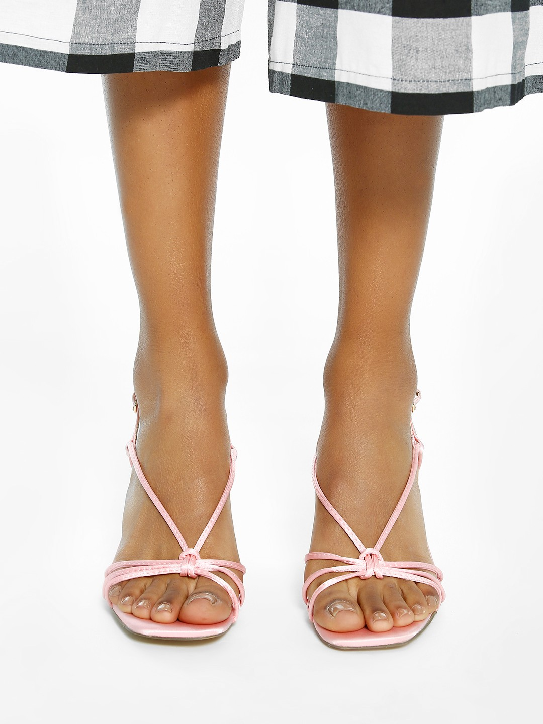 Intoto Pink Strappy Square Toe Heeled Sandals 1