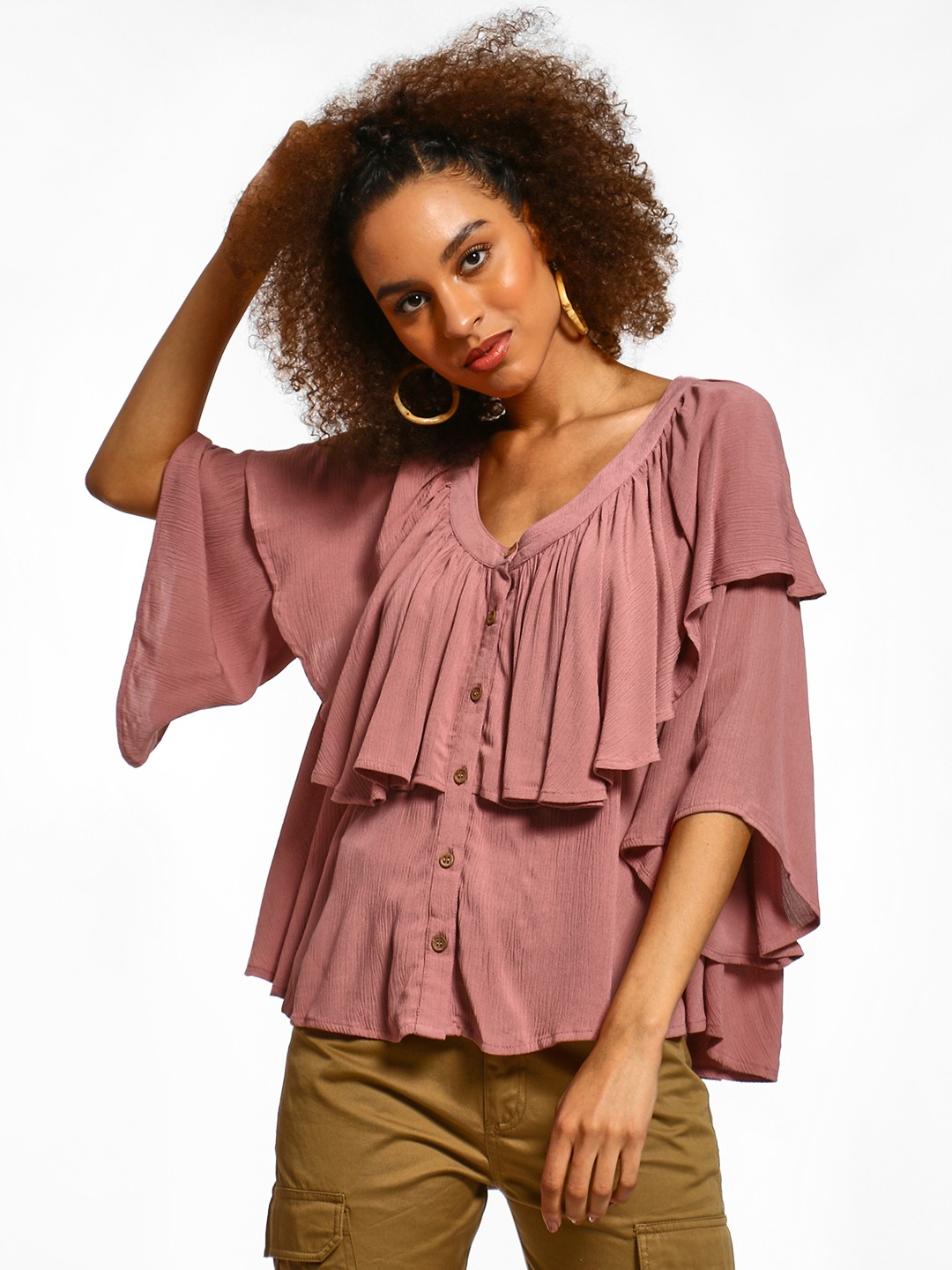 Femella Pink Ruffle Tier Flared Top 1
