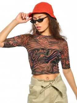 Daisy Street Abstract Print Mesh Crop Top