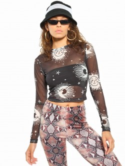 Daisy Street Planet Print Mesh Crop Top