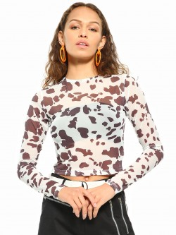 Daisy Street Cow Print Mesh Crop Top