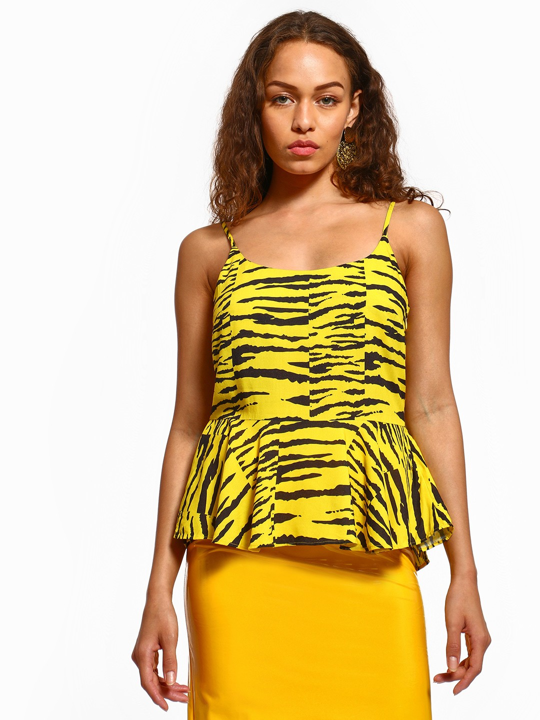KOOVS Multi Tiger Print Peplum Top 1
