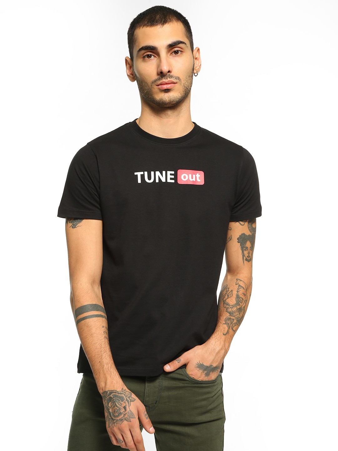 Garcon Black Tune Out Placement Print T-Shirt 1