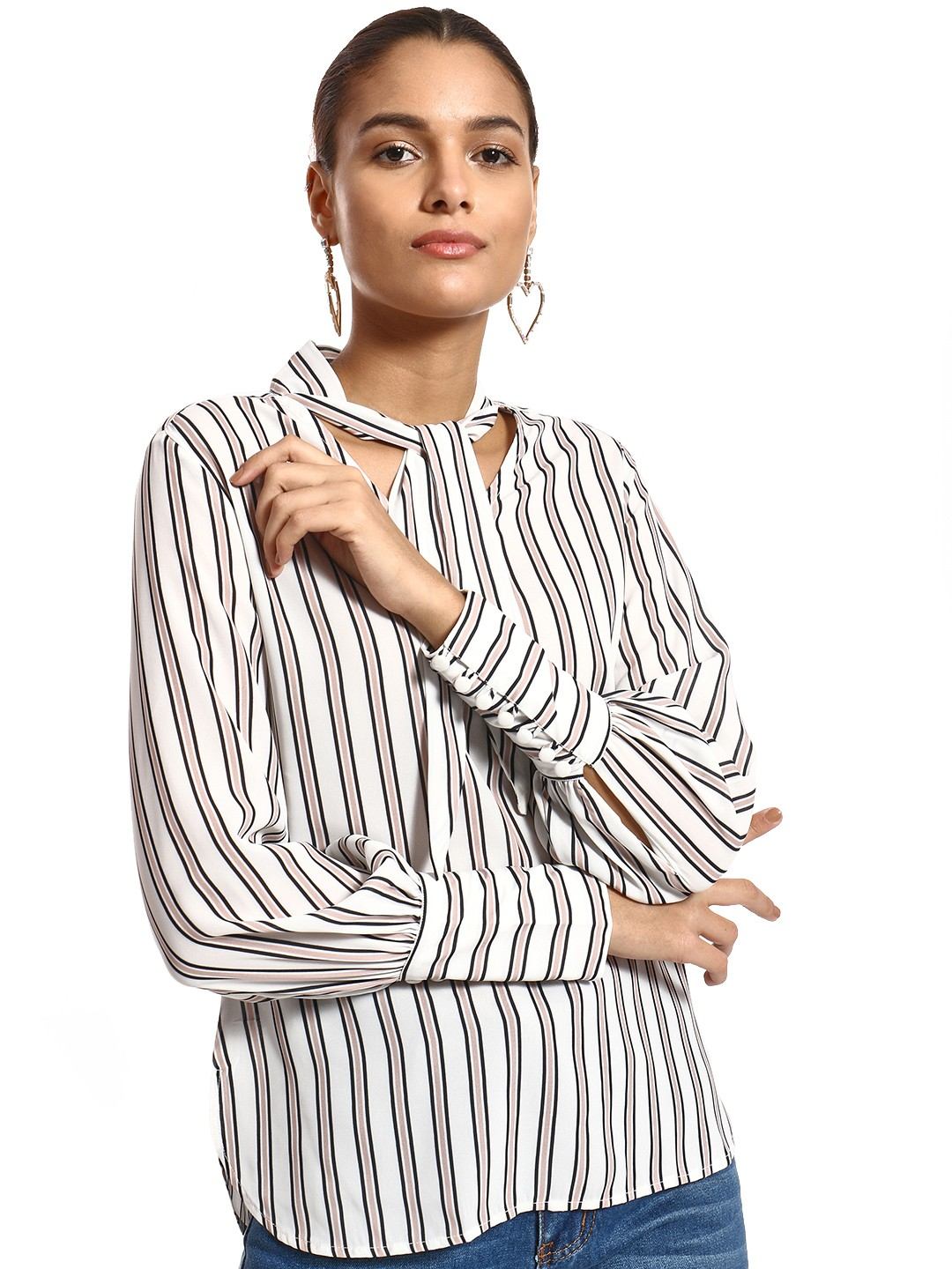 PostFold Multi Vertical Stripe Tie Neck Blouse 1