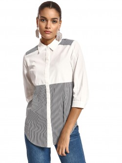 PostFold Stripe Panelled Curved Hem Shirt