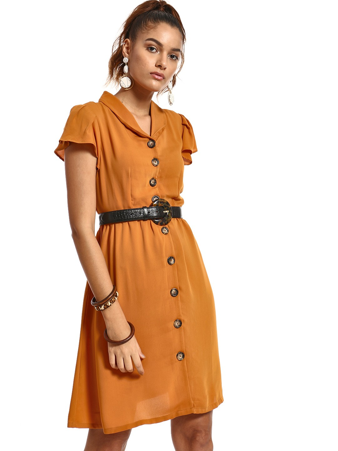 PostFold Brown Horn Button Shirt Dress 1