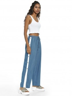 Beyond Clouds Side Tape Denim Popper Pants