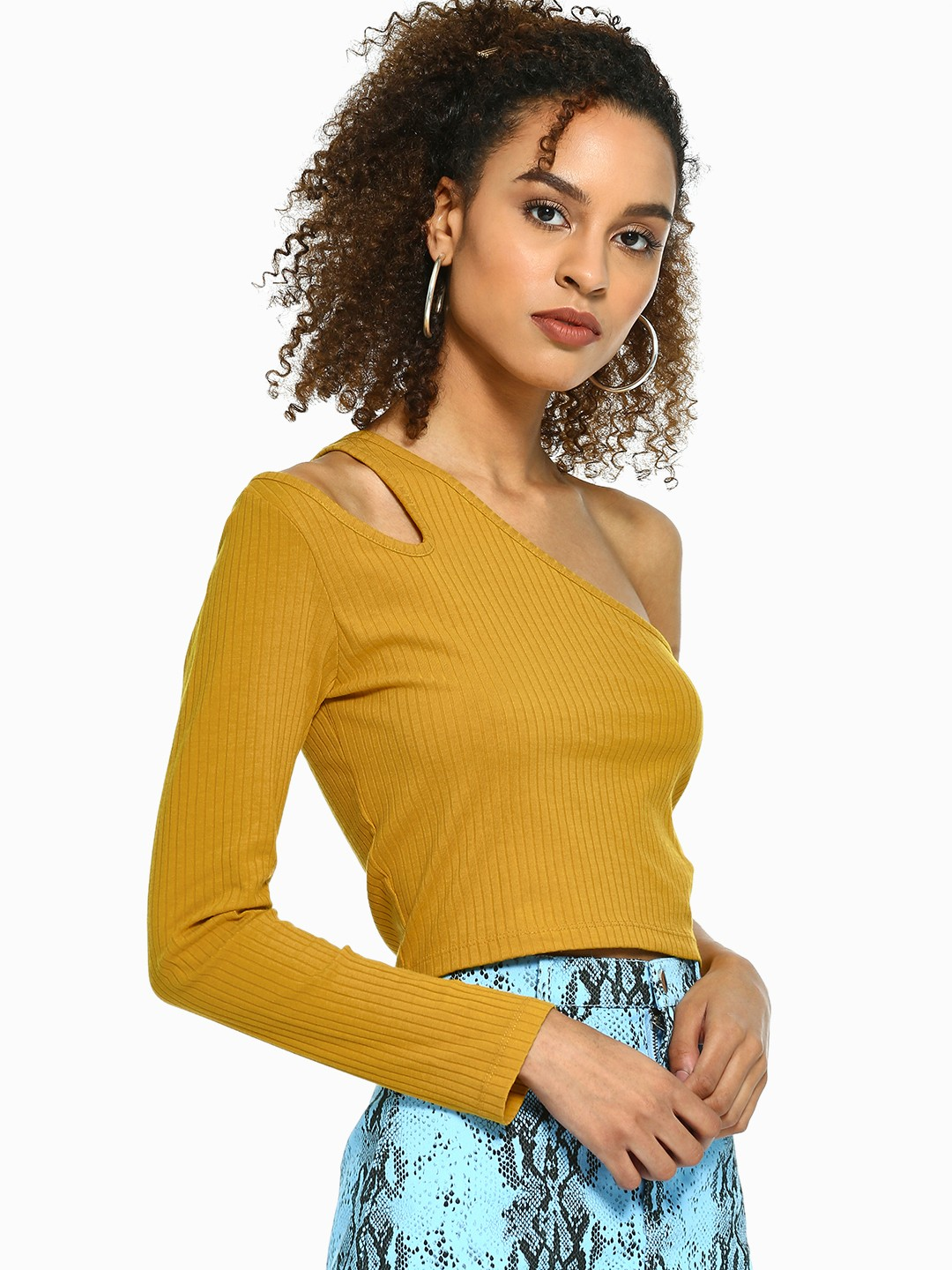 Beyond Clouds Yellow One Shoulder Ribbed Crop Top 1