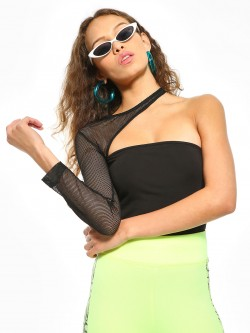 Beyond Clouds One Shoulder Mesh Cut Out Top