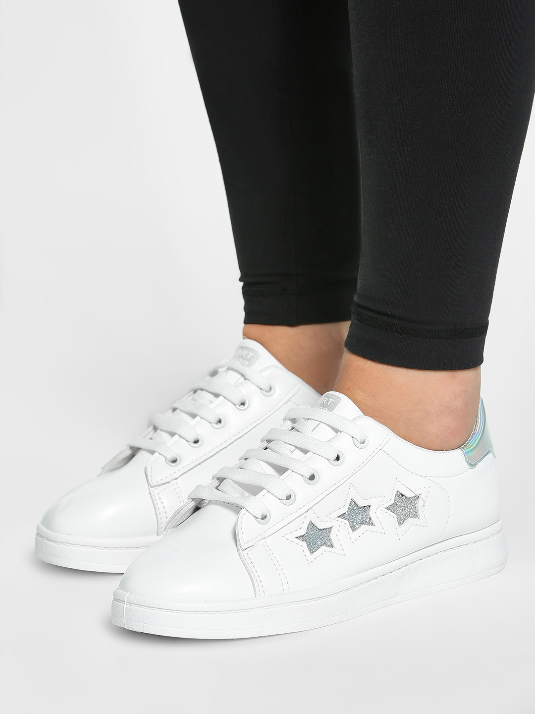 EmmaCloth White Holographic Tab Glitter Star Sneakers 1