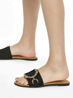 Sole Story Diamante Embellished Chain Suede Flat Sandals