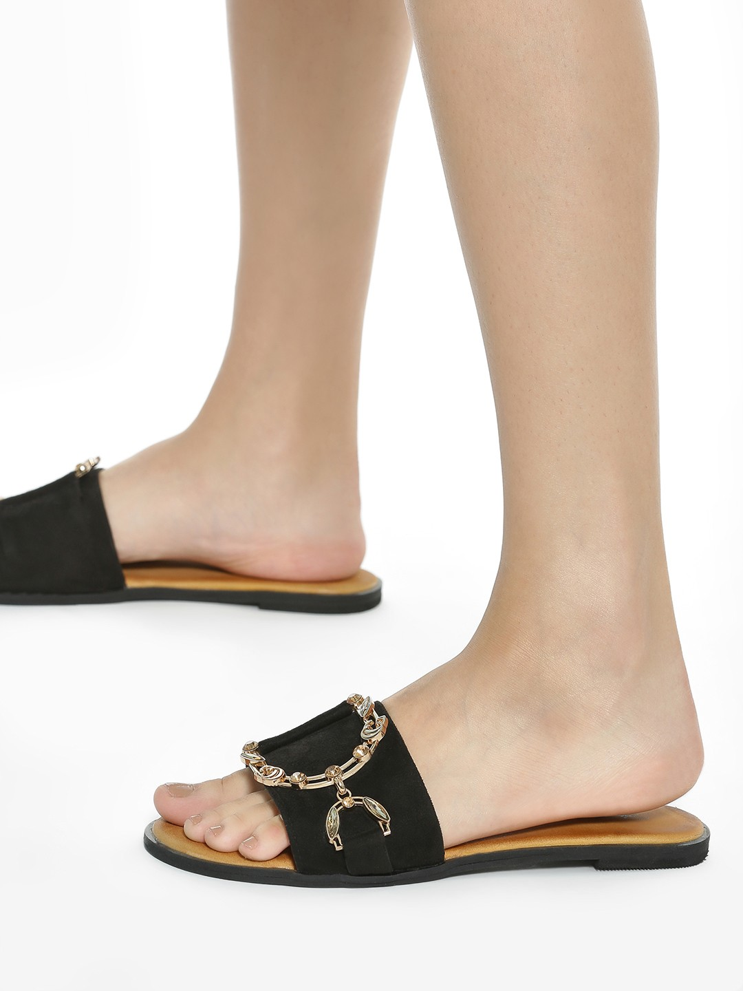 Sole Story Black Diamante Embellished Chain Suede Flat Sandals 1