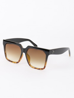 Sneak-a-Peek Leopard Print Wide Frame Retro Sunglasses