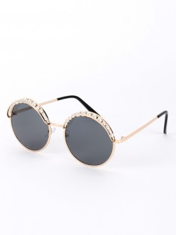 Sneak-a-Peek Pearl Embellished Metallic Round Sunglasses