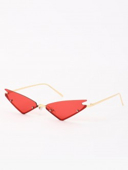 Sneak-a-Peek Frameless Winged Cateye Sunglasses