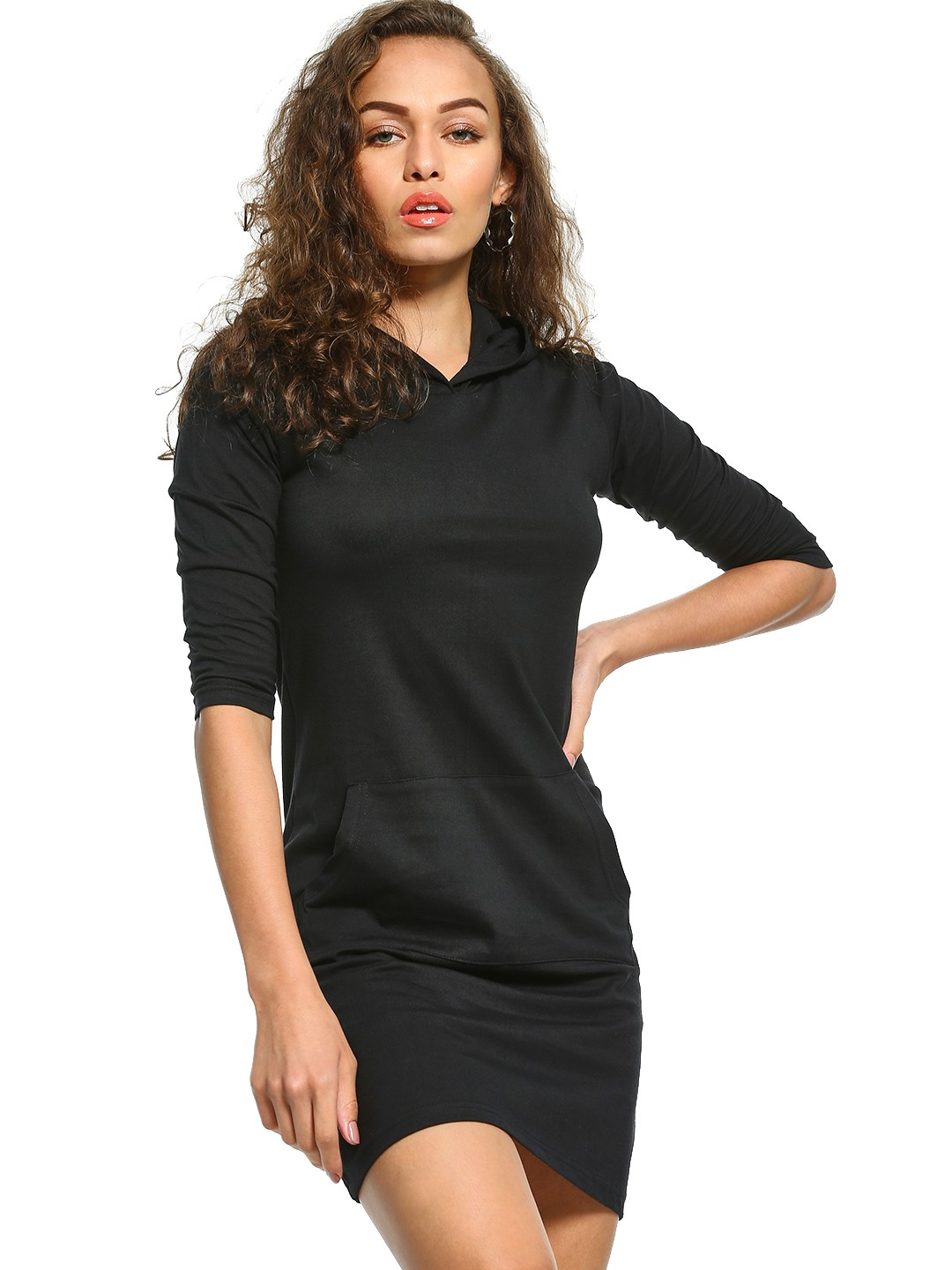 The Dry State Black Hooded T-Shirt Dress 1