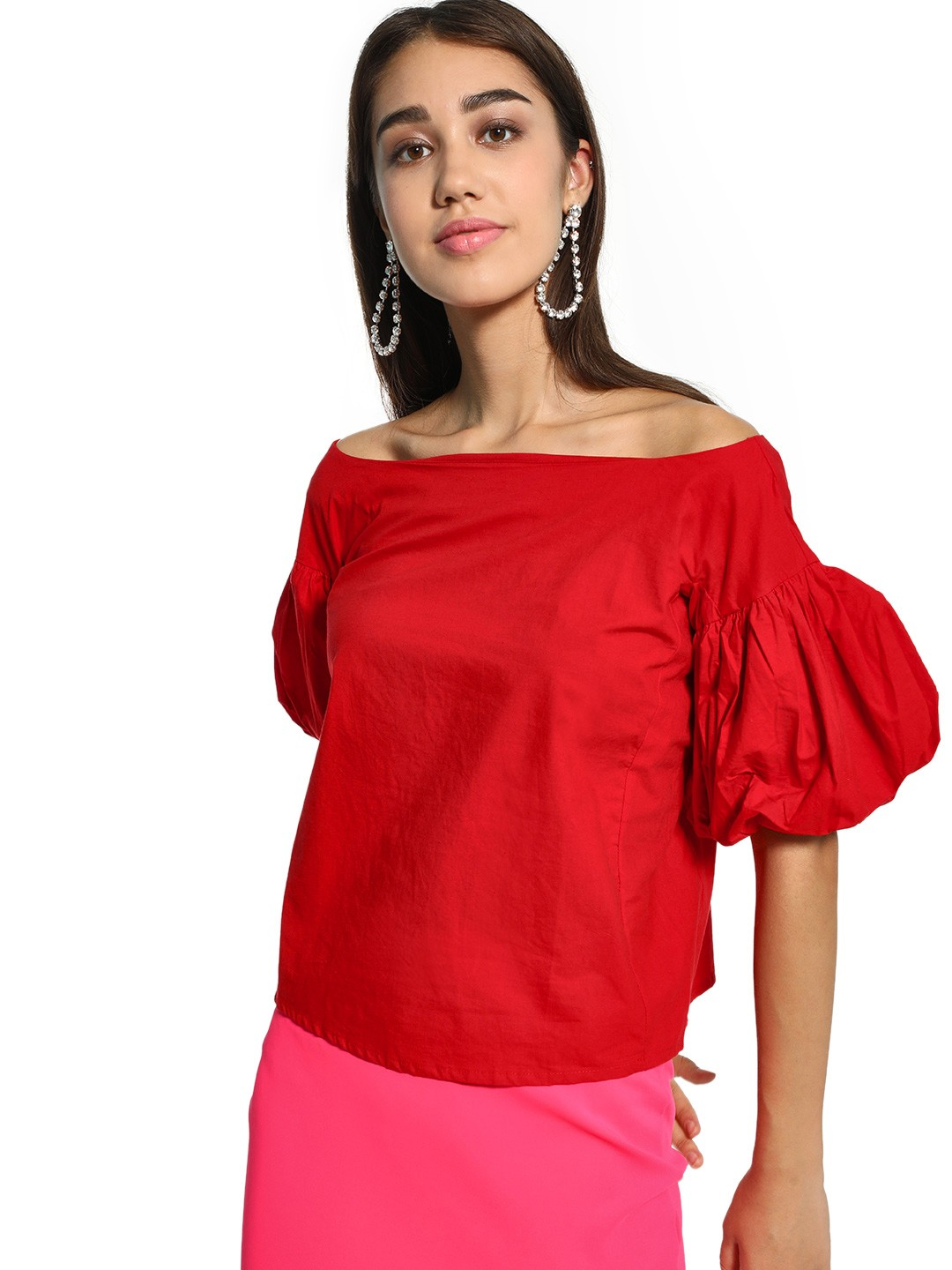 KOOVS Red Boat Neck Puff Sleeve Top 1