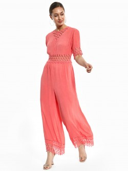 KOOVS Lace Cut-Out Wide Leg Jumpsuit