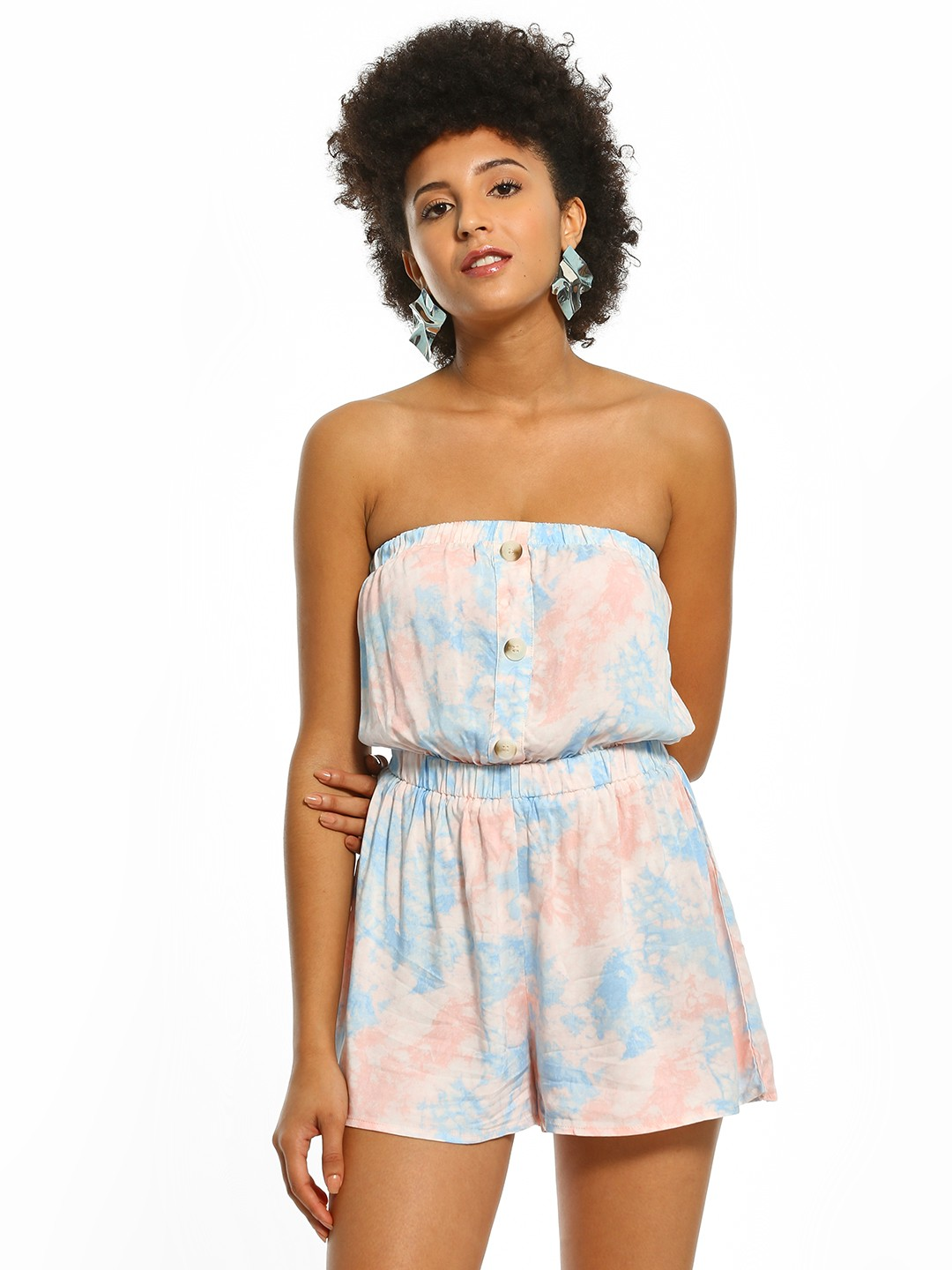 New Look Blue Tie & Dye Print Bandeau Playsuit 1