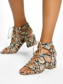 New Look Gillie Snake Print Block Heeled Sandals