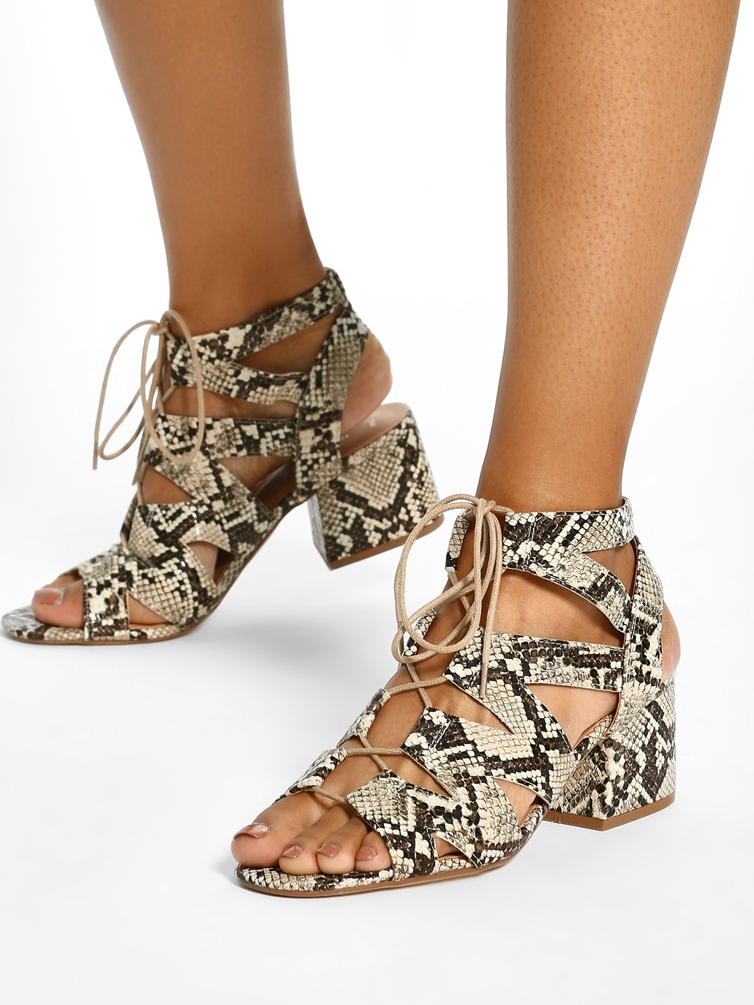 New Look Multi Gillie Snake Print Block Heeled Sandals 1