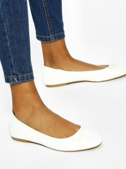 New Look Textured Bow Detail Ballerinas