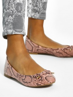 New Look Snake Print Bow Detail Ballerinas