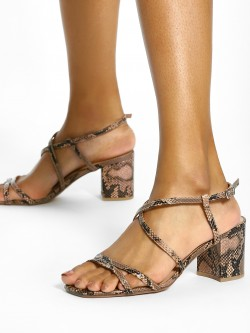 New Look Snake Print Block Heeled Sandals