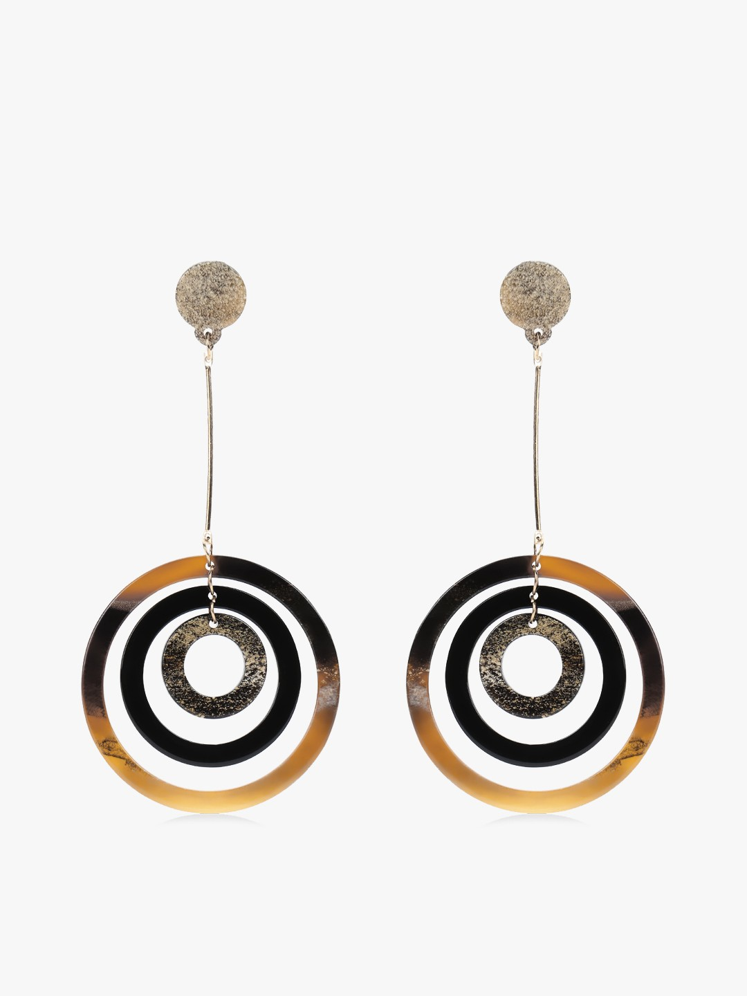 Zero Kaata Brown Multi-Hoop Drop Earrings 1