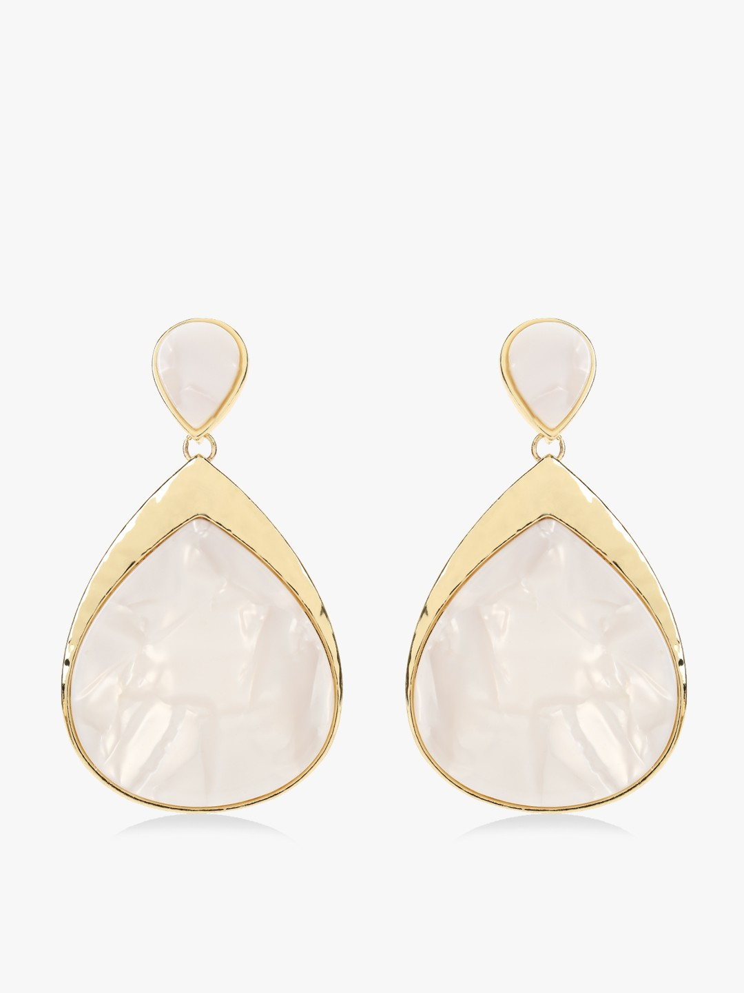 Zero Kaata White/Gold Marble Stone Drop Earrings 1