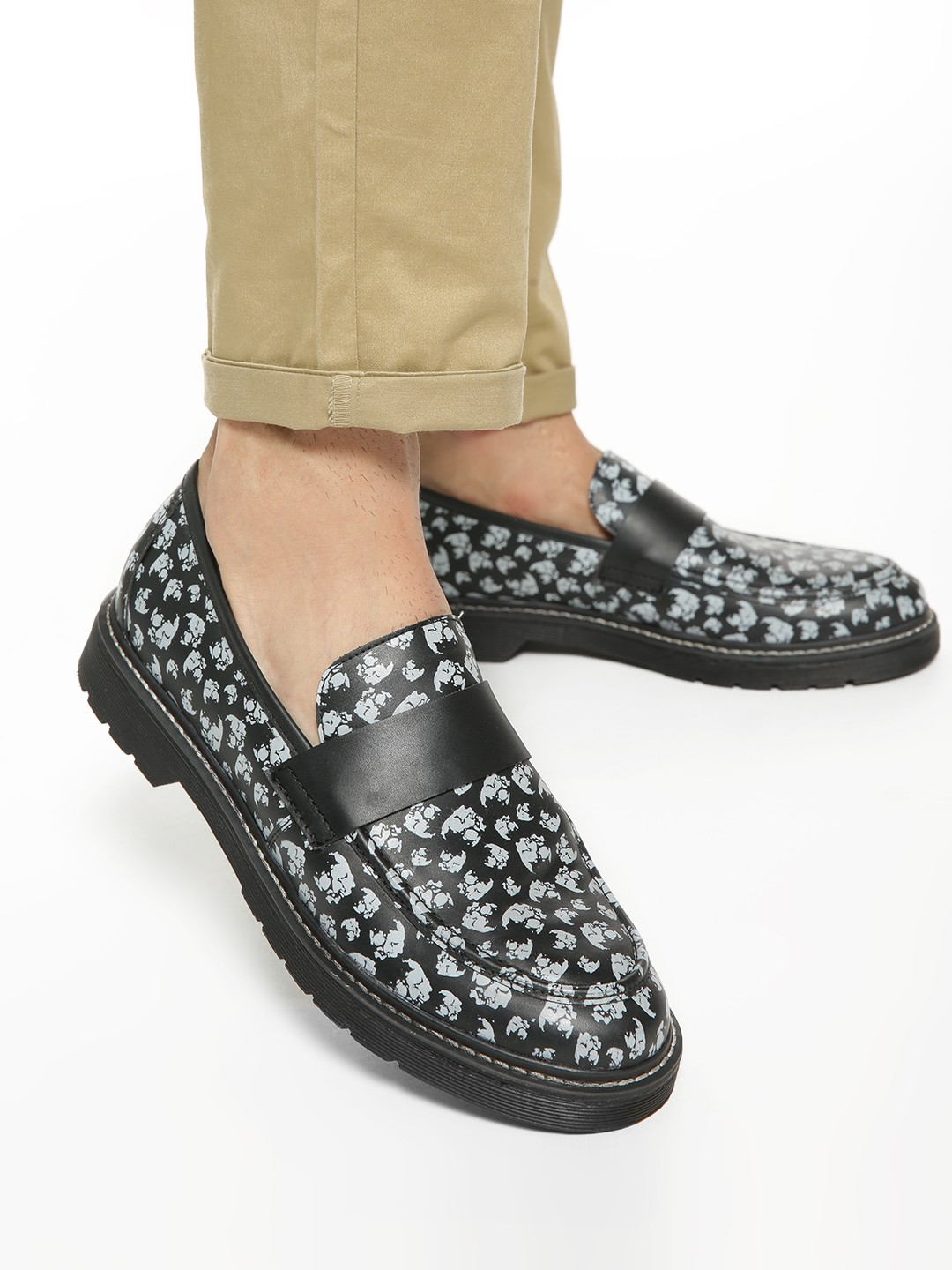 KOOVS Black All Over Print Loafers 1