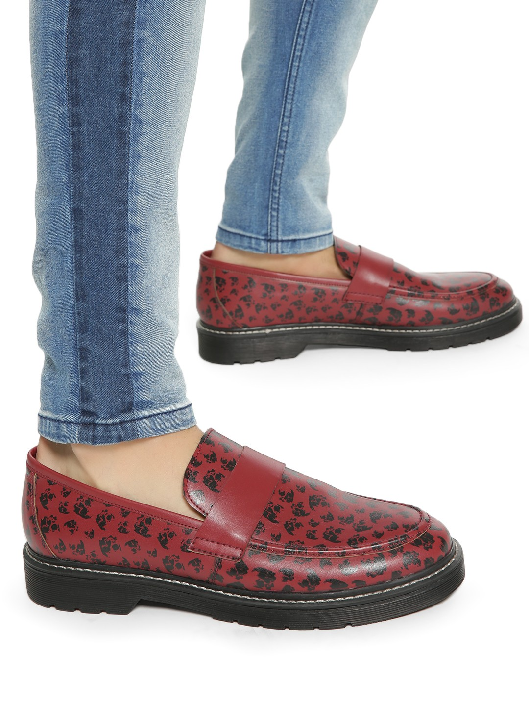 KOOVS Red All Over Print Loafers 1
