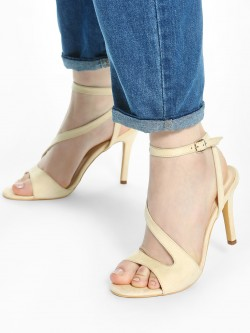 KOOVS Suede Asymmetric Strap Heeled Sandals