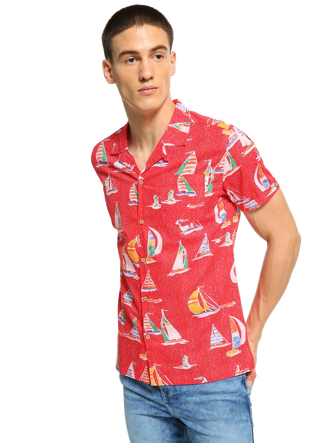 Soulstar Red Boat Print Cuban Collar Shirt 1