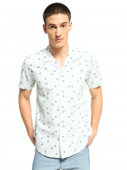 Soulstar Bird Print Cuban Collar Shirt