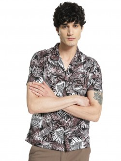 Soulstar Tropical Print Cuban Collar Shirt