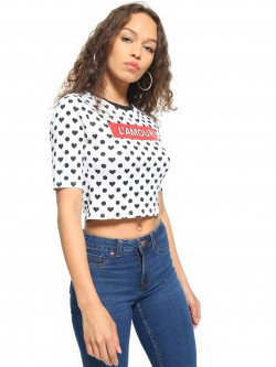 People Text Print Knitted Crop Top
