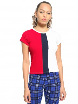 People Ribbed Colour Block Top