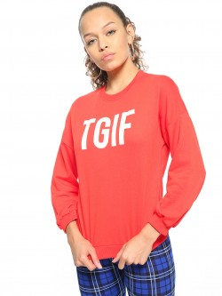People TGIF Print Round Neck Sweatshirt
