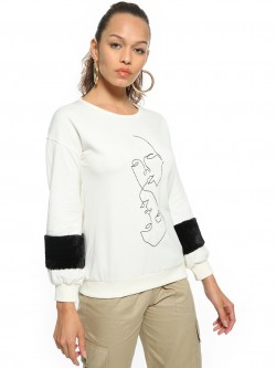 People Embroidered Face Front Sweatshirt
