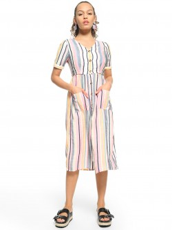 People Vertical Stripe Twin Pocket Midi Dress