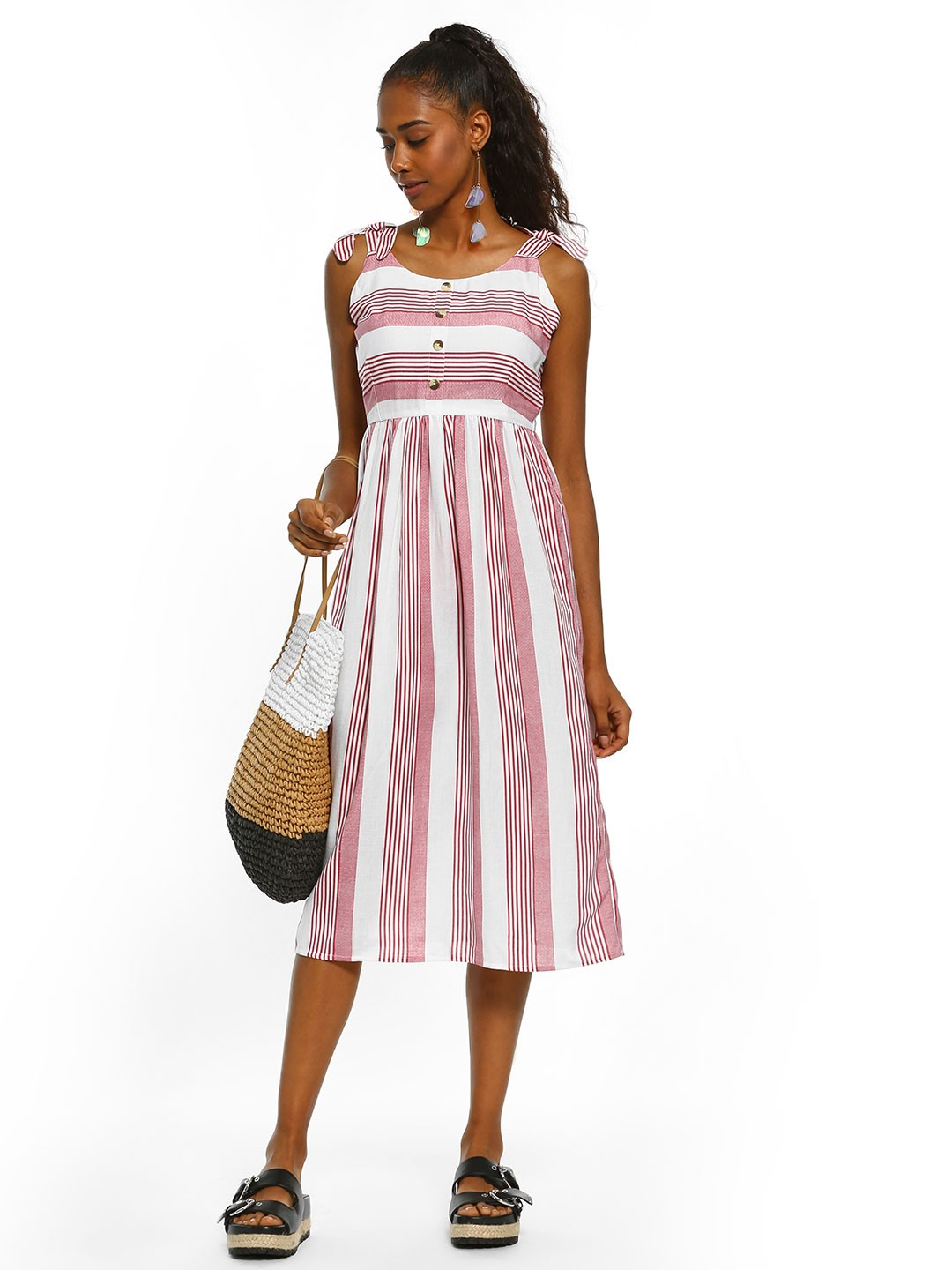 People Red All Over Stripe Midi Dress 1