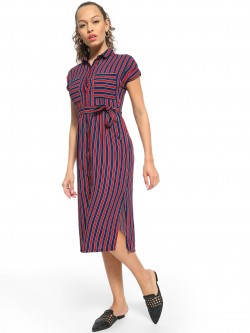 People Striped Button-Down Midi Dress
