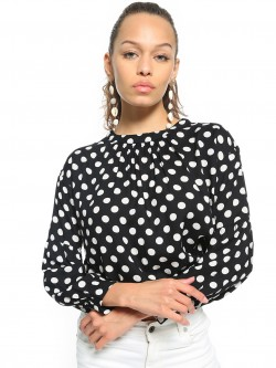 People Polka Dot Print Crop Top