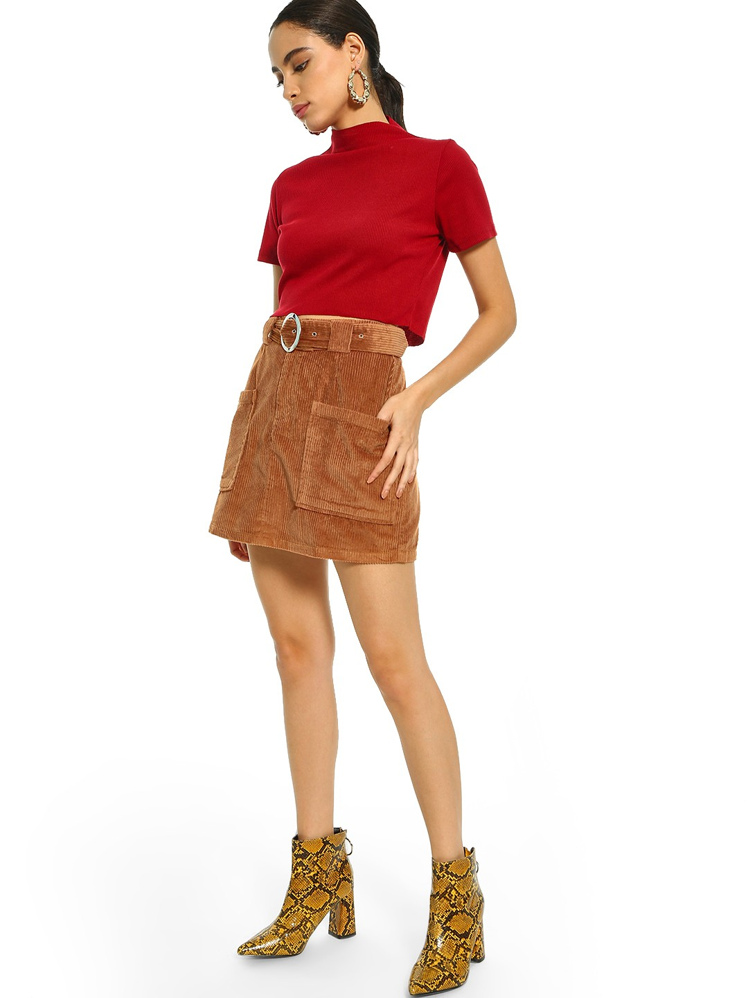 KOOVS Brown Corduroy Belted Utility Skirt 1