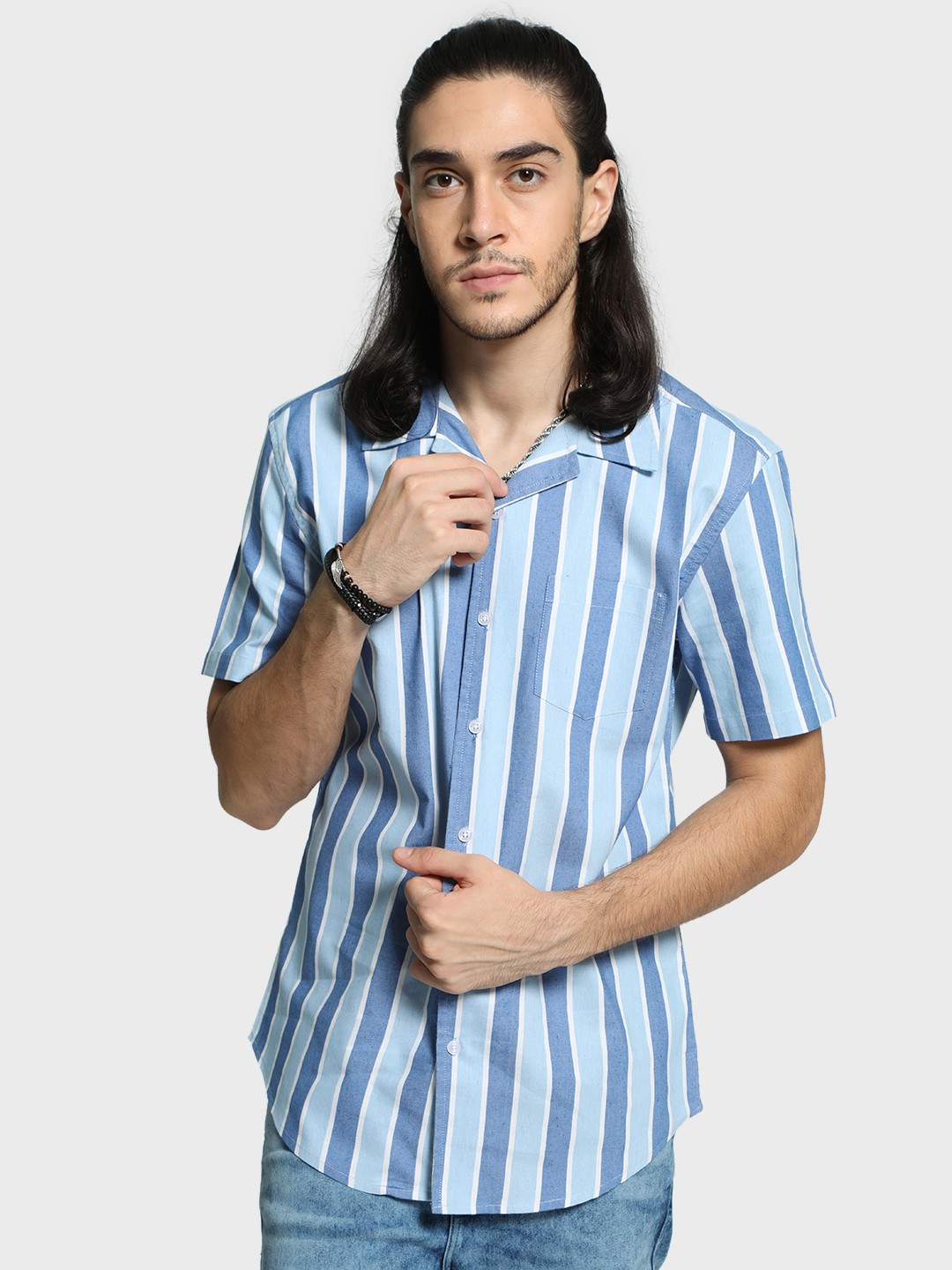 Spring Break Blue Vertical Stripe Cuban Collar Shirt 1