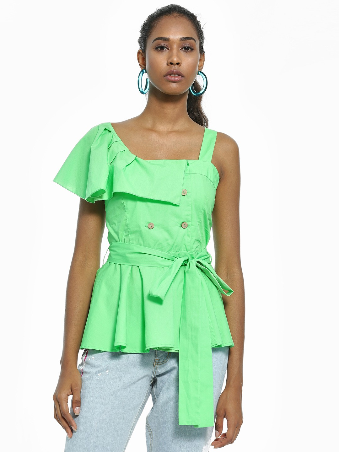 Ri-Dress Green One Shoulder Tie Knot Blouse 1